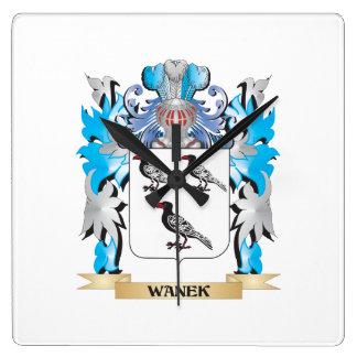 Escudo de armas de Wanek - escudo de la familia Reloj Cuadrado