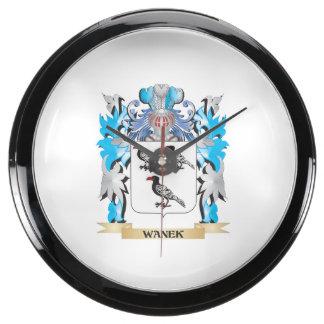 Escudo de armas de Wanek - escudo de la familia Reloj Aqua Clock