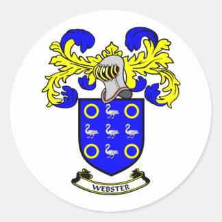 Escudo de armas de WEBSTER Pegatina Redonda