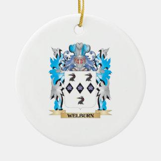 Escudo de armas de Welburn - escudo de la familia Adorno Navideño Redondo De Cerámica