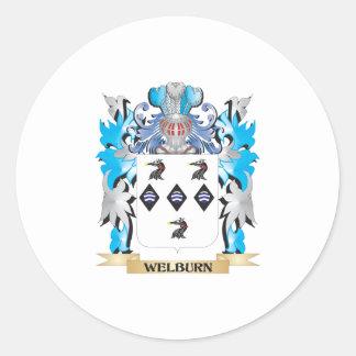 Escudo de armas de Welburn - escudo de la familia Pegatina Redonda
