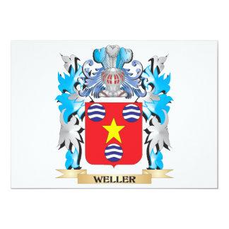 """Escudo de armas de Weller - escudo de la familia Invitación 5"""" X 7"""""""