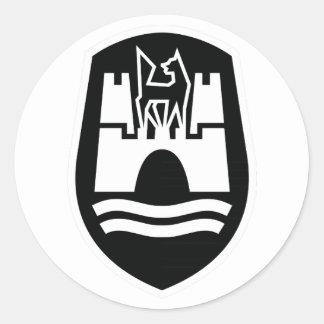 Escudo de armas de Wolfsburgo (blanco negro) Pegatina Redonda