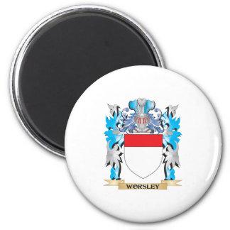 Escudo de armas de Worsley - escudo de la familia Imán Redondo 5 Cm