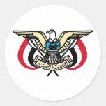 Escudo de armas de Yemen Pegatina Redonda