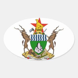 Escudo de armas de Zimbabwe Pegatina Ovalada