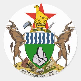 Escudo de armas de Zimbabwe Pegatina Redonda