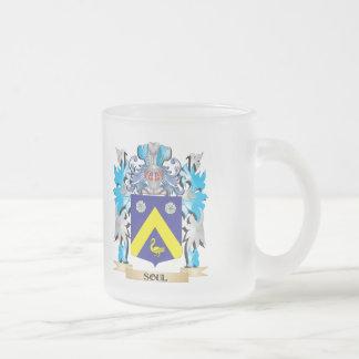 Escudo de armas del alma - escudo de la familia taza cristal mate