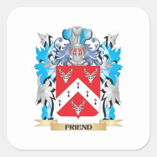 Escudo de armas del amigo - escudo de la familia pegatina cuadradas