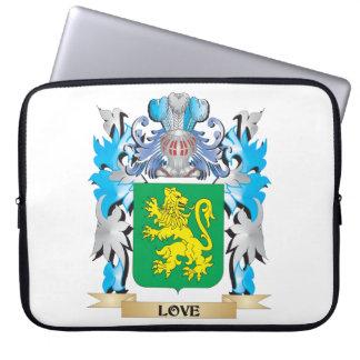 Escudo de armas del amor - escudo de la familia funda portátil