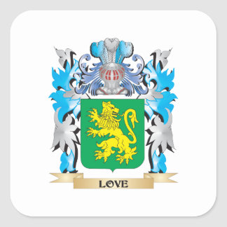 Escudo de armas del amor - escudo de la familia calcomanías cuadradases