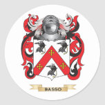 Escudo de armas del Basso (escudo de la familia) Pegatinas Redondas