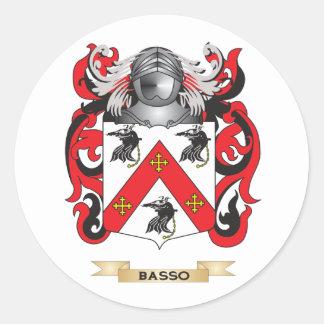 Escudo de armas del Basso (escudo de la familia) Pegatina Redonda