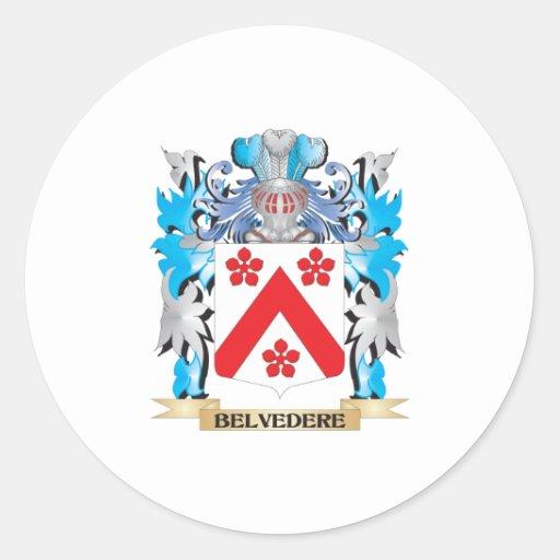 Escudo de armas del belvedere pegatina redonda