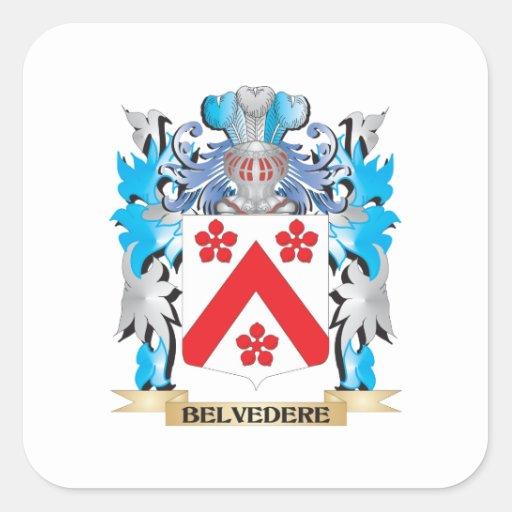 Escudo de armas del belvedere calcomania cuadradas personalizada