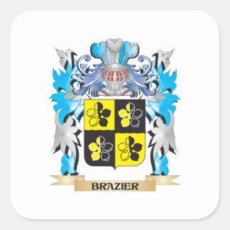 Escudo de armas del brasero calcomanía cuadrada personalizada