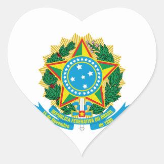 Escudo de armas del Brasil Pegatina En Forma De Corazón