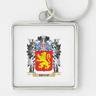 Escudo de armas del bravo - escudo de la familia llavero cuadrado plateado