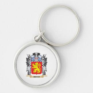 Escudo de armas del bravo - escudo de la familia llavero redondo plateado