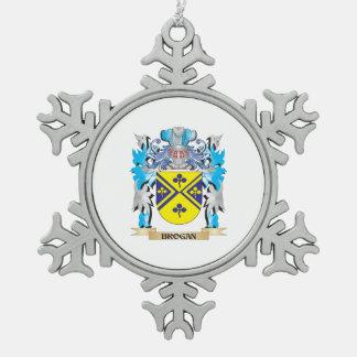 Escudo de armas del Brogan Adorno De Peltre En Forma De Copo De Nieve