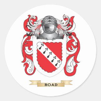 Escudo de armas del camino escudo de la familia pegatina redonda