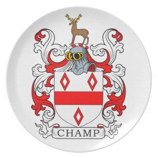 Escudo de armas del campeón plato de comida