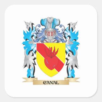 Escudo de armas del canal - escudo de la familia pegatina cuadrada