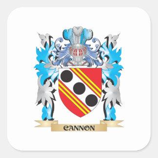 Escudo de armas del cañón - escudo de la familia pegatina cuadrada