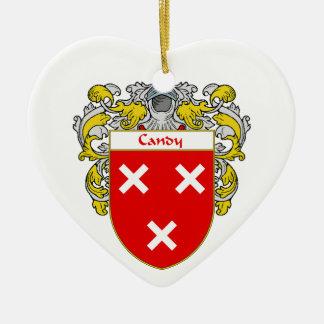 Escudo de armas del caramelo/escudo de la familia adorno de cerámica en forma de corazón