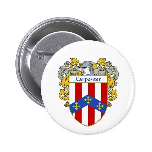 Escudo de armas del carpintero/escudo de la pin redondo 5 cm