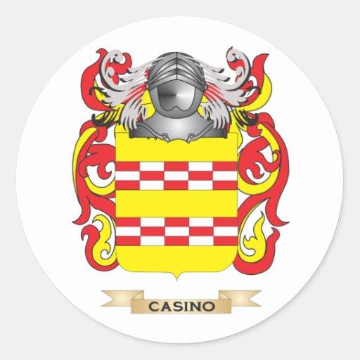 Escudo de armas del casino (escudo de la familia) pegatina redonda