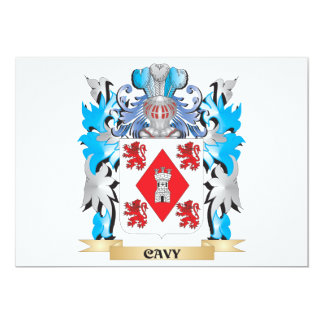 """Escudo de armas del Cavy - escudo de la familia Invitación 5"""" X 7"""""""