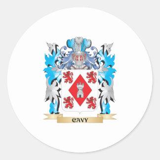 Escudo de armas del Cavy - escudo de la familia Pegatina Redonda