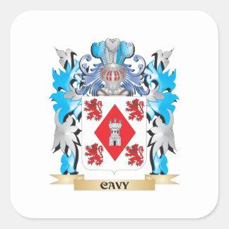 Escudo de armas del Cavy - escudo de la familia Pegatina Cuadradas