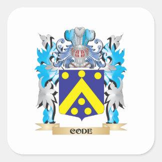 Escudo de armas del código - escudo de la familia calcomanías cuadradass
