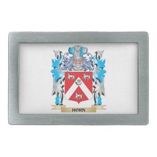 Escudo de armas del cuerno - escudo de la familia hebilla de cinturón rectangular
