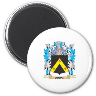 Escudo de armas del cuerno - escudo de la familia iman de nevera