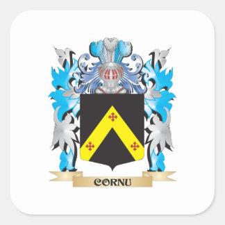 Escudo de armas del cuerno - escudo de la familia pegatinas cuadradases personalizadas