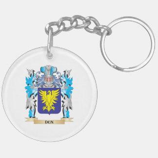 Escudo de armas del Dun - escudo de la familia Llavero Redondo Acrílico A Doble Cara