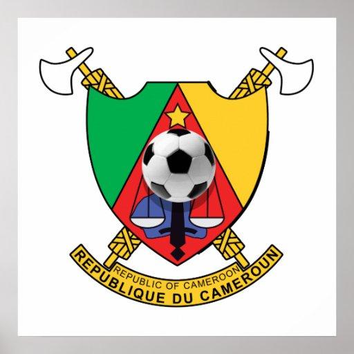 Escudo de armas del emblema del balón de fútbol de poster