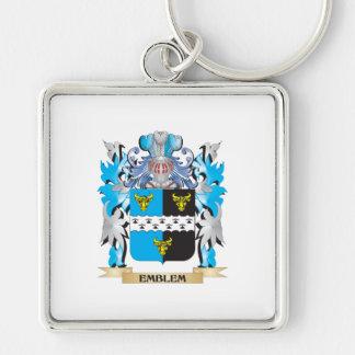 Escudo de armas del emblema - escudo de la familia llavero cuadrado plateado