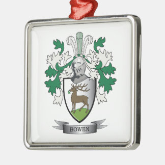 Escudo de armas del escudo de la familia de Bowen Adorno Navideño Cuadrado De Metal