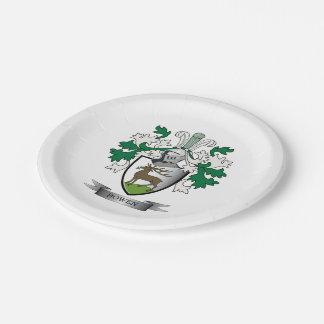 Escudo de armas del escudo de la familia de Bowen Plato De Papel
