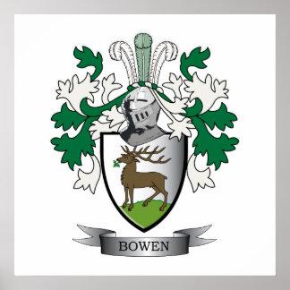 Escudo de armas del escudo de la familia de Bowen Póster