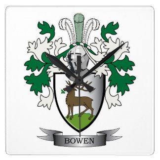 Escudo de armas del escudo de la familia de Bowen Reloj Cuadrado