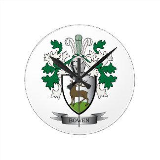 Escudo de armas del escudo de la familia de Bowen Reloj Redondo Mediano