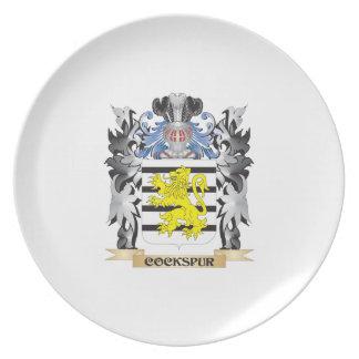 Escudo de armas del espolón de gallo - escudo de plato de cena