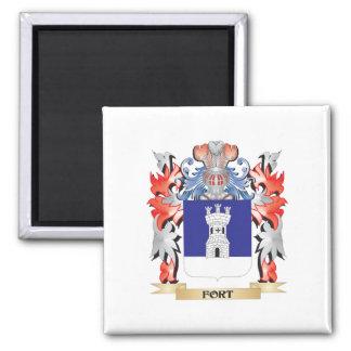 Escudo de armas del fuerte - escudo de la familia imán cuadrado