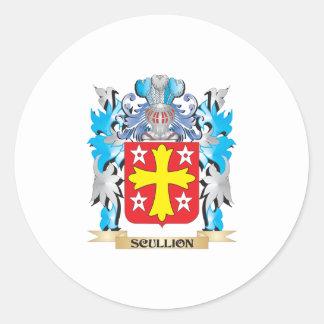 Escudo de armas del galopín de cocina - escudo de pegatina redonda