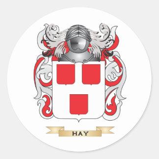 Escudo de armas del heno (escudo de la familia) pegatina redonda
